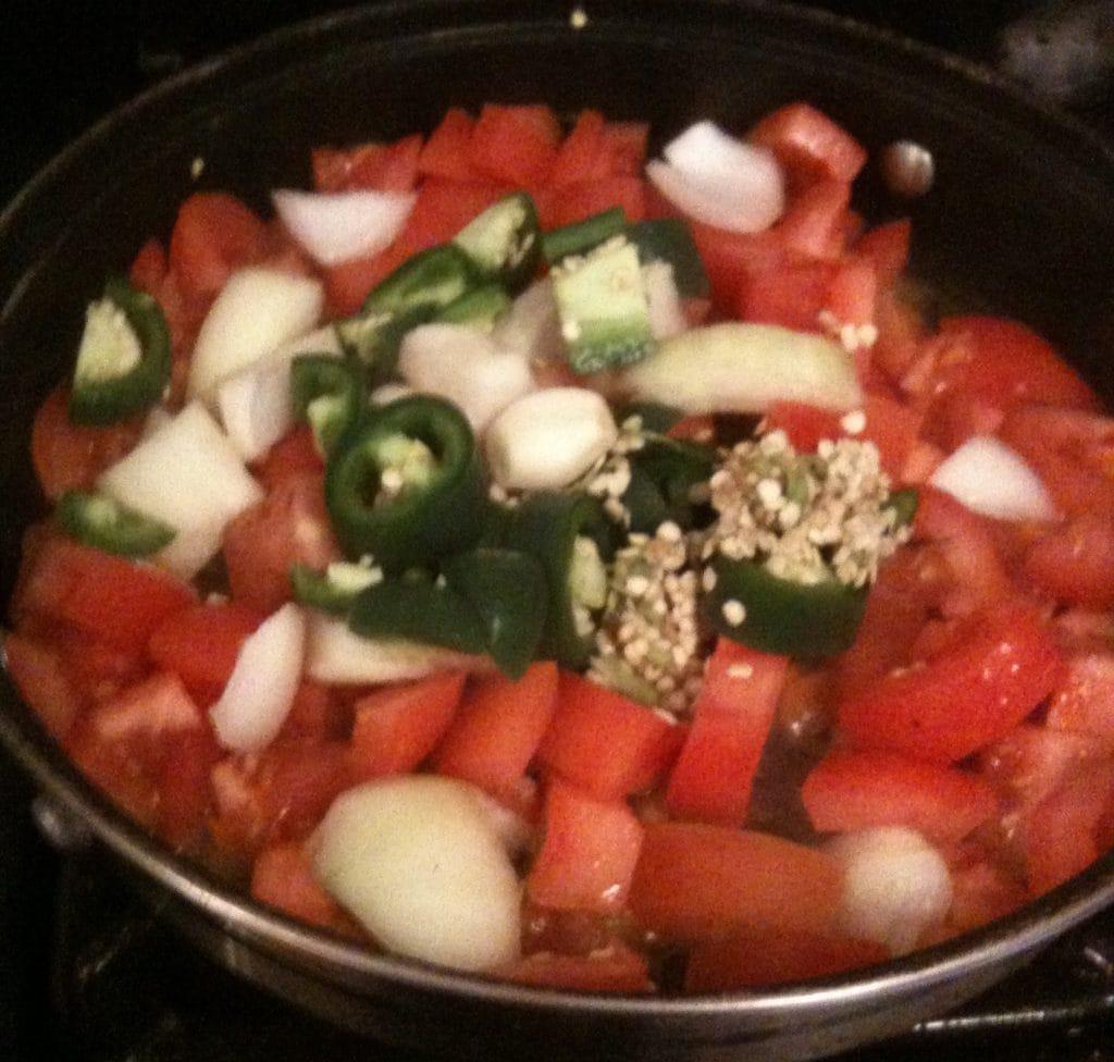 tomato jalapeno sauce prep