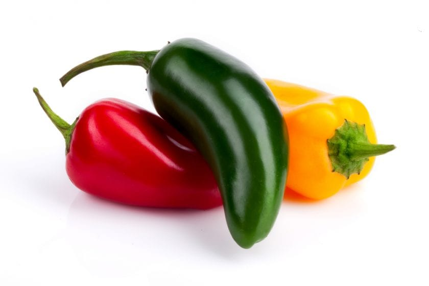 red, green and yellow jalapeno peppers
