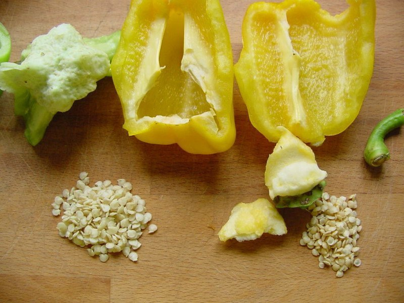 Cut open peppers and seeds