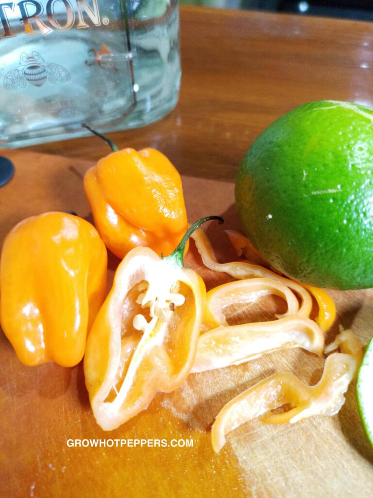 chopped habaneros and lime