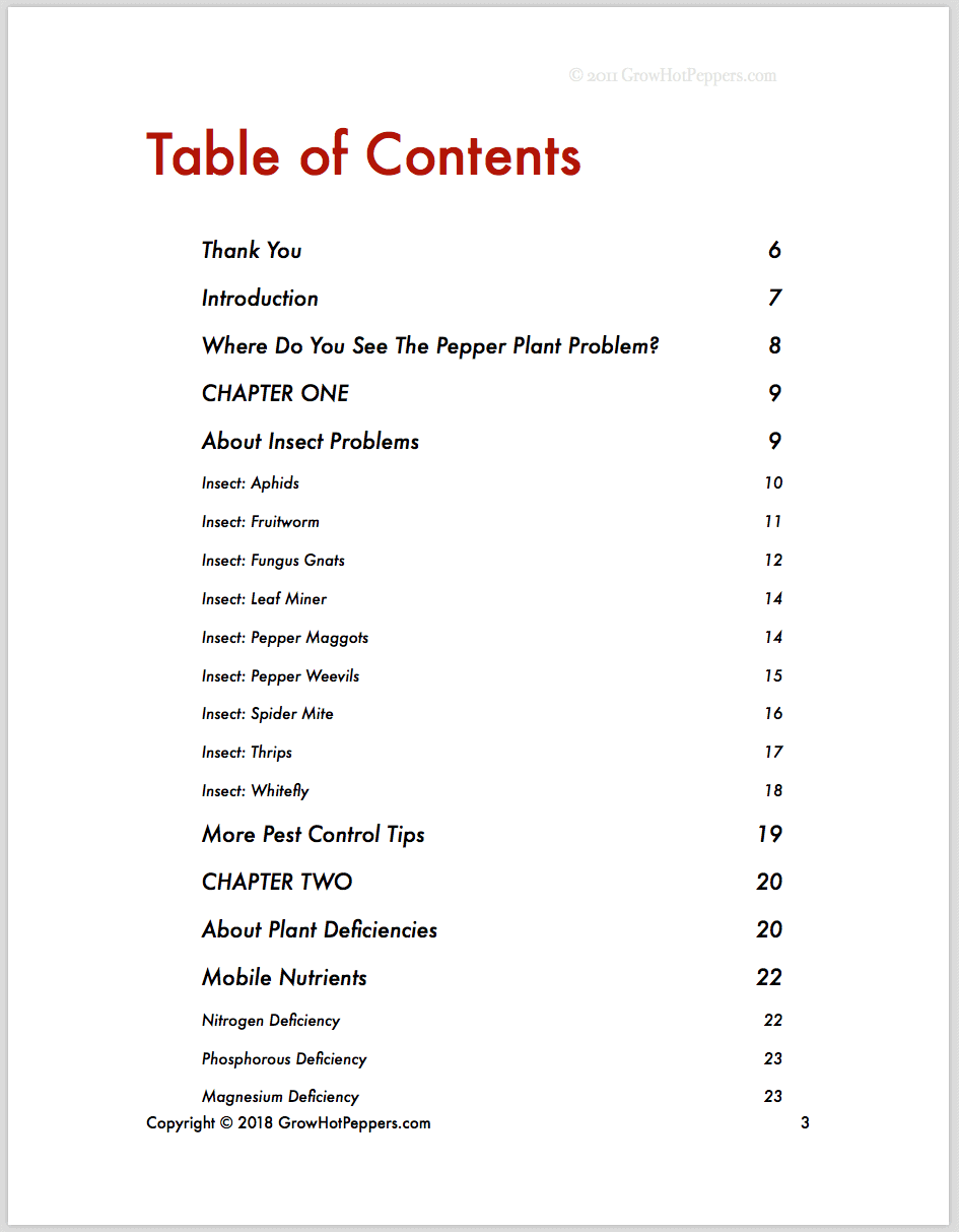The Chile Plant Hospital Table of Contents 1