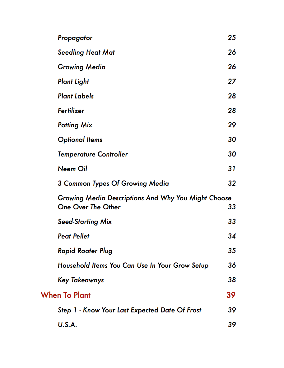 The Pepper Seed Starting Guide Table Of Contents Page 2