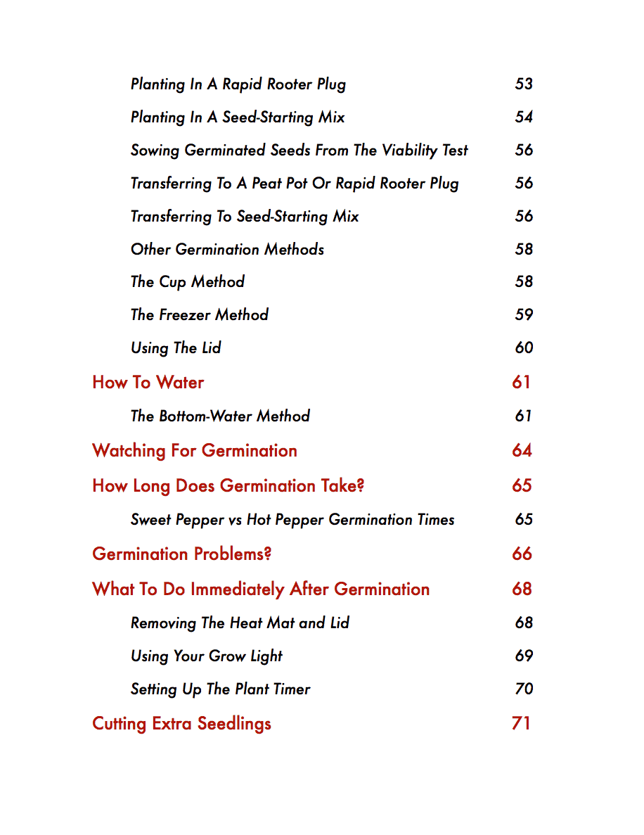 The Pepper Seed Starting Guide Table Of Contents Page 4
