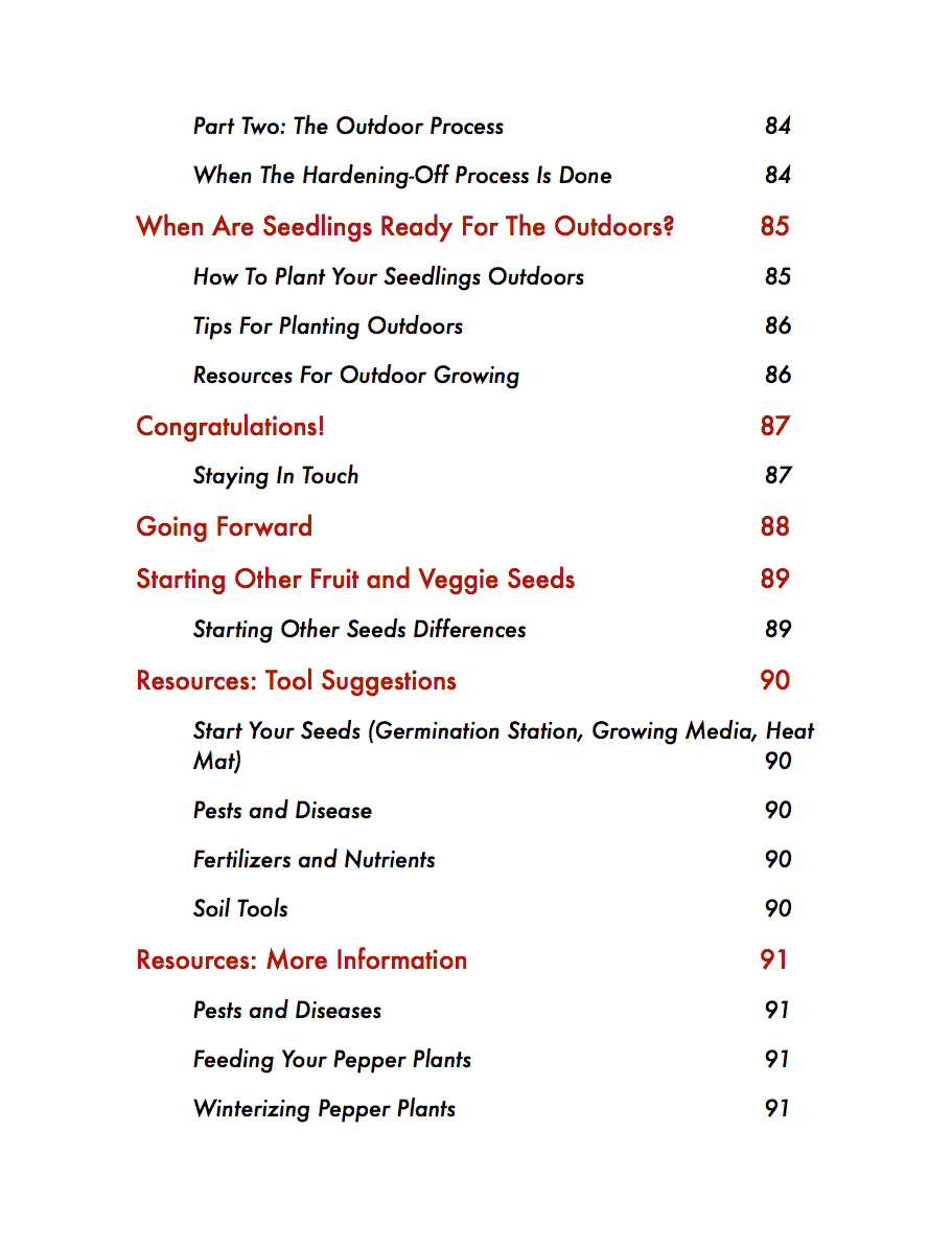 The Pepper Seed Starting Guide Table Of Contents Page 6