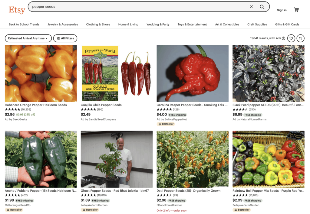 pepper seeds for sale on Etsy